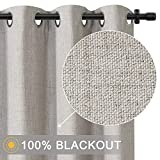 Primitive Linen Look,100% Blackout Curtains(with Liner)Linen Blackout Curtains& Blackout Thermal Insulated Liner,Grommet Curtains for Living Room/Bedroom,Burlap Curtains-Set of 2 Panels (50x63 Beige)