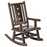 Wood Outdoor Vintage Rocking Chair Rustic Porch Rocker Heavy Duty Big Log Accent Chair Wooden Patio XL Lawn Chairs Oversize Furniture for Adult