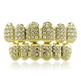 LuReen 14k Gold Plated Grillz with Diamond Hip Hop Teeth Top and BottomSet (Gold)