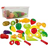 IQ Toys 35 Piece Cutting Food Play Set Fruits & Vegetables 2 Cutting Boards in a Storage Container