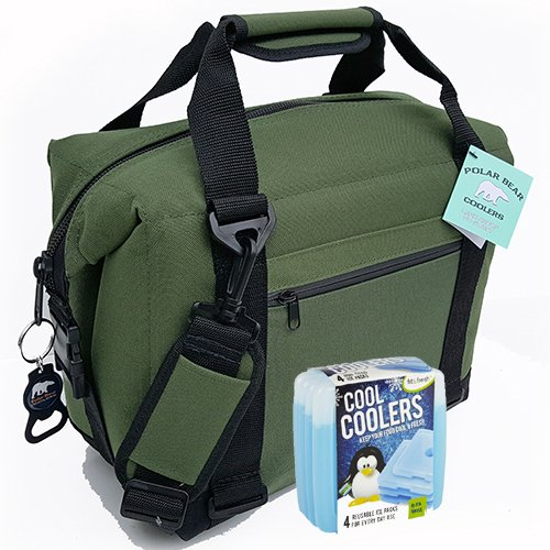 Polar Bear Coolers Nylon Series Soft Cooler Tote Size 12 Pack Green & Fit & Fresh Cool Coolers Slim Ice 4-Pack (Bundle)