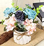 TopSZ Artificial Flowers in Ceramic Vase Sturdy Bottom - Arrangement Wedding Home Party Table Centerpieces