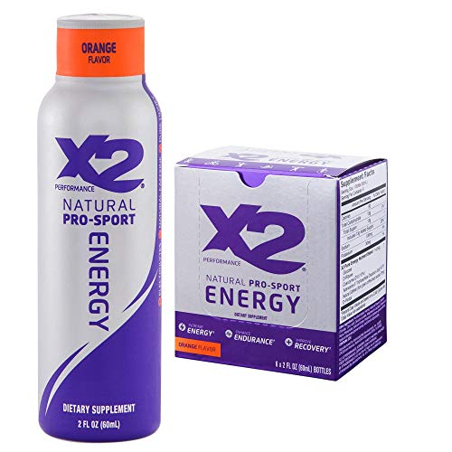 X2 Natural Pro-Sport Energy Drink, Orange (Pack of 6, 2oz each)