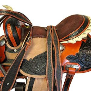 Brown Leather Tooled Trail Horse Racing Pleasure Western Barrel Saddle 15 16 17