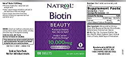 Natrol Biotin Beauty Tablets, Promotes Healthy Hair, Skin and Nails, Helps Support Energy Metabolism, Helps Convert Food Into Energy, Maximum Strength, 10,000mcg, 100 Count (Pack of 2)  Image 2