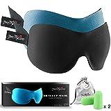 PrettyCare 3D Sleep Mask with 2 Pack Eye Mask for Sleeping - Contoured Eyemask for Airplane with EarPlugs & Yoga Silk Bag for Travel - Best Night Blindfold Eyeshade for Men Women