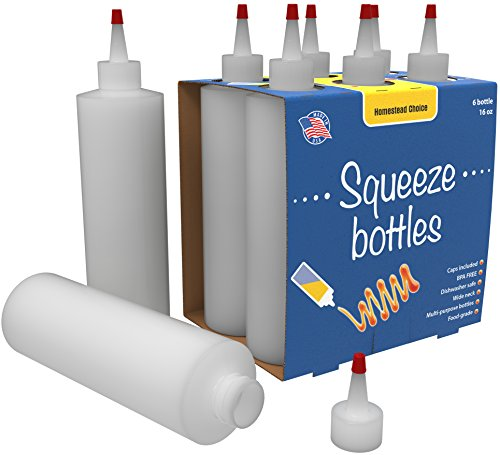 7-pack Plastic Squeeze Condiment Bottles - 16 Ounce with Red Tip Cap - Perfect For Ketchup, BBQ, Sauces, Syrup, Condiments, Dressings, Arts and Crafts - BPA-Free - Made in USA