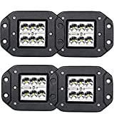 LED Light Bar TURBOSII 4Pcs 3x3 4.5inch Flush Mount Led Lights Pods Spot Beam Offroad Led Work Lights Bar Driving Fog Lights Boat Light For Pickup Jeep Truck Tacoma Bumper Lights 12V 24V