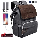 Diaper Bag Backpack - SUNPOW Large Anti-Water Maternity Baby Nappy Bags with Insulated Pockets, Changing Pad and Stroller Straps Included, Multifunction Travel Back Pack with USB Charging Port, Gray