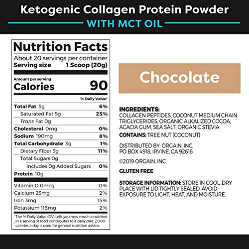Orgain Keto Collagen Protein Powder with MCT Oil, Chocolate - Paleo Friendly, Grass Fed Hydrolyzed Collagen Peptides Type I and III, Dairy Free, Lactose Free, Gluten Free, Soy Free, 0.88 Pound 2
