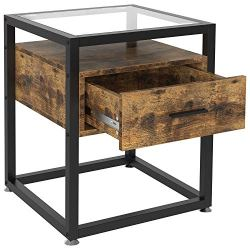 IRONCK Industrial Side Tables Living Room, Nightstand Bedroom with Drawer and Rustic Shelf, Wood and Tempered Glass End…