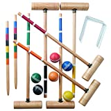 Franklin Sports Croquet Set - Up to 6 Players - Professional Quality Croquet Set for Lawn Games - Complete Croquet Set with Carrying Case - Includes Wooden Mallets, Durable Balls, Weatherproof Wickets