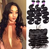 Star Show Brazilian Hair Body Wave Bundles with Frontal Closure 100% Unprocessed Human Hair Bundles with Closure Ear to Ear 16 18 20 with 14 Inch Frontal