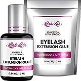 Eyelash Glue for Professional Lash Extensions - Deep Black Lash Glue - Extra Strong Hold & Long Lasting - Volume Plus & Max Boning - 1-2 Sec Drying Time - 0,34OZ - Latex FREE Lash Adhesive