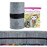 Watercolor Pencils Plus Cat Coloring Book & Large Pencil Case | Use in Coloring Books for Adults Relaxation & On Watercolor Paper | Includes Pencil Sharpener & Paint Brush | Colored Pencils for Kids