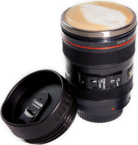 Camera Lens Coffee Mug, Best Photographer Gift, Ideal for Travel, Authentic Replica of the Canon 24-105mm Lens (Mug Only)