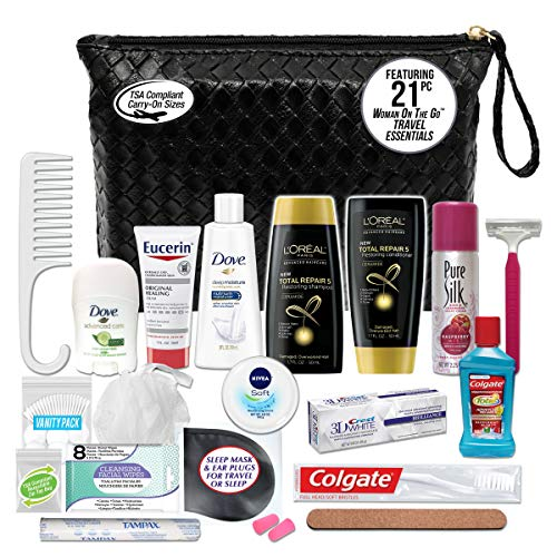 Convenience Kits International Women's Premium 21-Piece Assembled Necessities Travel Kit, Featuring: L'Oreal Paris Hair Products 3