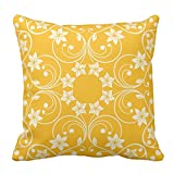 Floral Design Orange and Cream Flower Pattern Vintage Home Decor Throw Pillow Cover Pillow Case For Sofa, 20X20 Inch