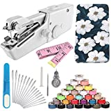 Handheld Sewing Machine and Sewing Thread Kit,Mini Portable Sewing Machine,28 Pcs Sewing Threads,16 Pcs Sewing Needles,Scissors and Measuring Tape.