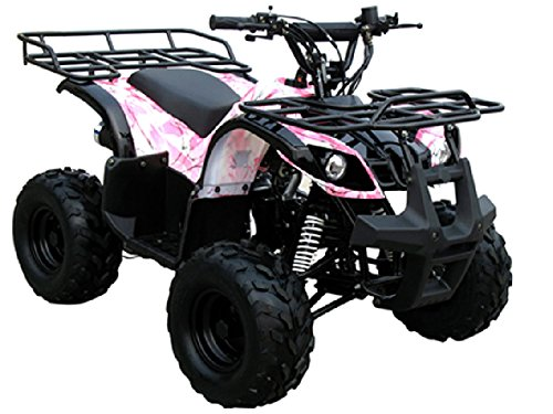 DONGFANG 125cc ATV Fully Automatic Four Wheelers 4 Stroke Engine 7' Tires Quads for Kids Pink Camo