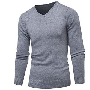 Spinning Simple Stripe V-Neck Slim Fit Casual Pullover Men Sweaters Knitting Mens