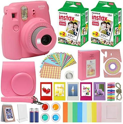 Fujifilm Instax Mini 9 Instant Kids Camera Flamingo Pink with Custom Case + Fuji Instax Film Value Pack (40 Sheets) Accessories Bundle, Color Filters, Photo Album, Assorted Frames, Selfie Lens + More