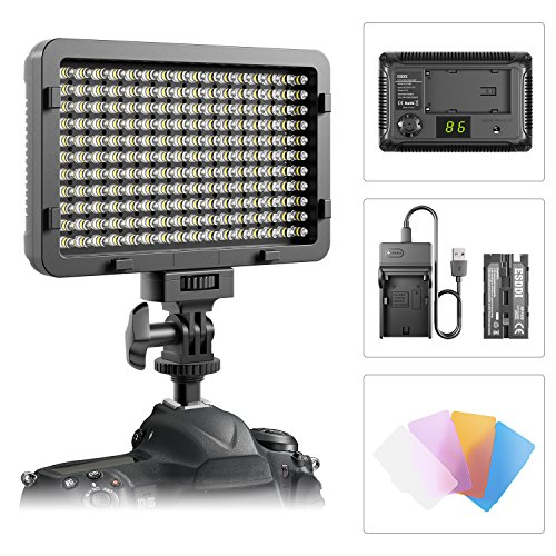 ESDDI 176 Led Video Light , 5600K Ultra Bright Dimmable Camera Video Panel Light with battery, charger and 1/4-inch Thread Mount for Sony, Canon, Nikon, Pentax, Panasonic, Samsung and Other DSLR
