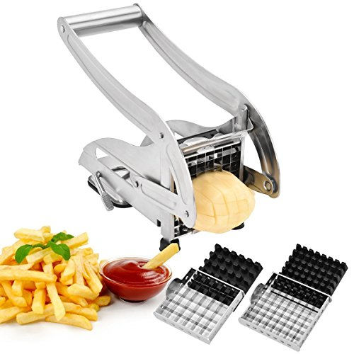 French Fries Cutter, Sopito Potato Chipper Cutter Homemade Stainless Steel with 2 Size Blades for Vegetables Like Cucumber, Carrot and More