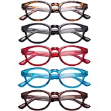 LianSan 5 Pairs Classic Readers Spring Hinged Round Reading Glasses for Men and Women L3712(+2.25)