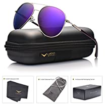 LUENX Aviator Sunglasses Womens Polarized Mirror with Case - UV 400 Protection 60MM