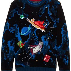 Blizzard Bay Men's Flying Space Cats Ugly Christmas Sweater