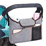 Universal Stroller Organizer Bag w/ 2 Deep Cup Holders Extra-Large Storage Space for Phones, Wallets, Diapers, Toys, Baby Accessories-Fit All Stroller Models and pet Strollers (Grey)