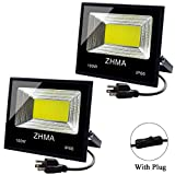 ZHMA 2 Pack 100W LED Flood Light Outdoor with Plug, 9000lm Super Bright Work Lights, 6500K Security White Light, IP65 Waterproof Floodlight Landscape Wall Lamp for Garage, Yard, Garden, Court Lighting