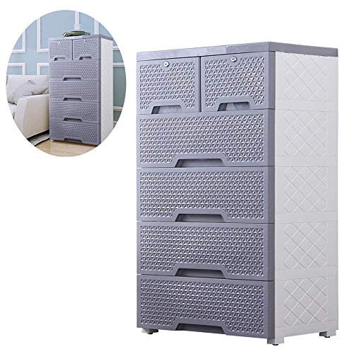 Movable Storage Cabinet,Multipurpose Furniture Organizer,Nafenai Home Bedroom Office 5-layers Storage Cart with 2 Locking Cabinets ,Durable and Environmental-friendly