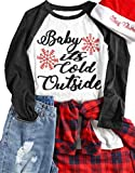 MNLYBABY Plus Size Baby It's Cold Outside Baseball T-Shirt Women Christmas Snowflake 3/4 Sleeve Raglan Top Tees Size XXXL (Gray)