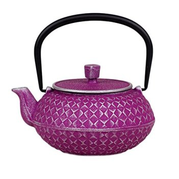 Japanese Cast Iron Teapot 20 oz Nambu-tekki Checked Pattern - Purple & Silver [Japanese Crafts Sakura]