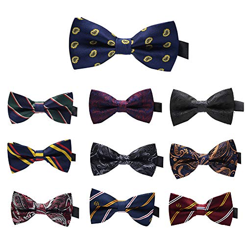 Elegant Pre-tied Bow ties Formal Tuxedo Bowtie Set with Adjustable Neck Band,Gift Idea For Men And Boys(5/8/10/20 Pcs) (Mixed Color G)