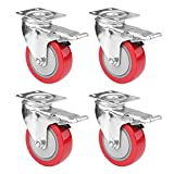 4' Swivel Plate Caster Wheels, PRITEK Heavy Duty Metal Caster Wheels Lock the Top Plate and the Wheels Replacement for Industrial Trailer or Large Home Furniture (bearing 250lbs each, set of 4)