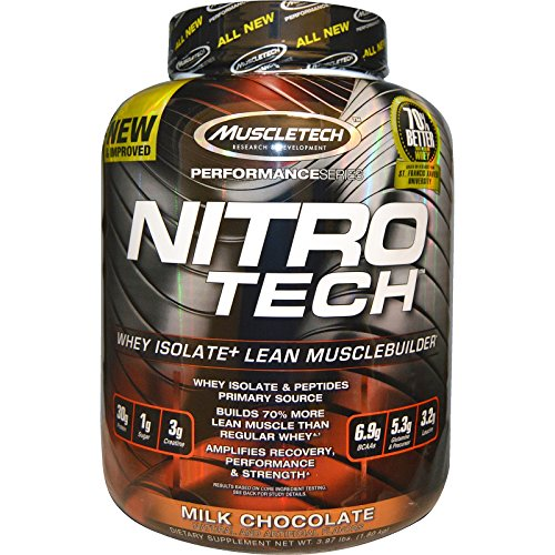 Muscletech Performance Series Nitrotech Whey Protein Peptides & Isolate (30g Protein, 2g Sugar, 3g Creatine, 6.8 BCAAs, 5g Glutamine & Precursor, Post-Workout) – 4lbs (1.81kg) (Milk Chocolate)