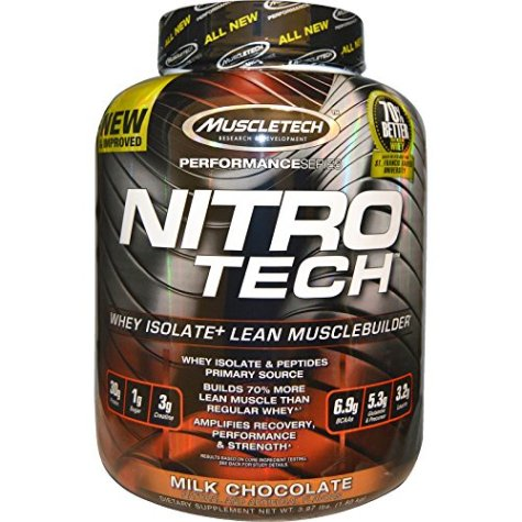 Muscletech Performance Series Nitrotech Whey Protein Peptides & Isolate (30g Protein, 2g Sugar, 3g Creatine, 6.8 BCAAs, 5g Glutamine & Precursor, Post-Workout) – 4lbs (1.81kg) (Milk Chocolate)