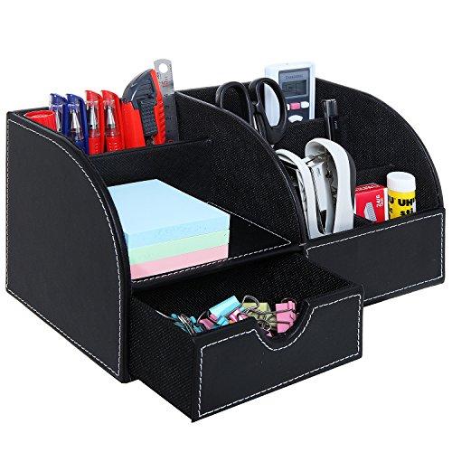 Black Leatherette Multi Compartment Office Desktop Supply Holder ...