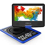 "COOAU 11.5' Portable DVD Player with Built-in Rechargeable Battery, Game Joystick, 9.5"" Eyesight Protective HD Screen, Support AV-in/Out, SD Card and USB Port, Region Free, Blue"