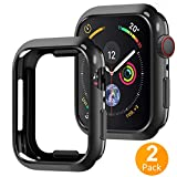Tensea Compatible with Apple Watch Series 4 Case Protector 44mm, 2 Pack Ultra-Thin Anti-Scratch Protective Bumper Case Soft Flexible TPU Cover Replacement for iwatch Apple Watch Case Series 4 (Black)