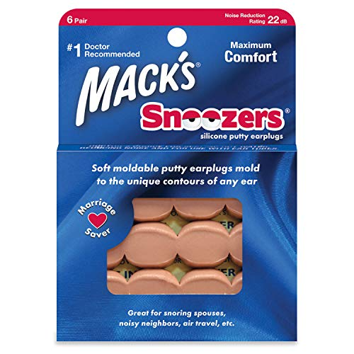 Mack's Snoozers Silicone Putty Earplugs - 6 Pair - Comfortable, Moldable Silicone Ear Plugs for Sleeping, Snoring, Loud Noise & Traveling