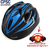 KIDS Helmet – Adjustable from Toddler to Youth Size, Ages 3 To 7 - Durable Kid Bicycle Helmets with Fun Racing Design Boys and Girls will LOVE - CSPC Certified for Safety (K12-3LightBlackBlue)