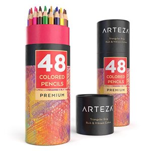 Arteza Colored Pencils, Soft Core, Triangular shaped, Pre sharpened (Pack of 48)