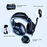 Stereo Gaming Headset for PS4, Xbox One, Nintendo Switch, PC- Noise Reduction Surround Bass Over Ear Headphones with Mic, LED Lights, Volume Control for Desktop, Laptop, Computer, Tablets, Smartphone