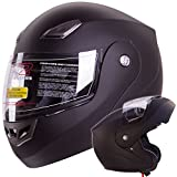 IV2 Bluetooth Compatible Modular Flip up Motorcycle Helmet Matte Black- Model #936 [DOT APPROVED] (Large)