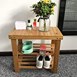 Livebest 20 in Bamboo Shoe Rack Bench 2 Tier Free Standing Boot Organizing Rack Entryway Storage Shelf Hallway 100% Natural Material Furniture for Home,Office,School