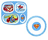 Maven Gifts: Bumkins DC Comics Superman Dishware Bundle - Divided Melamine Plate with Melamine Bowl